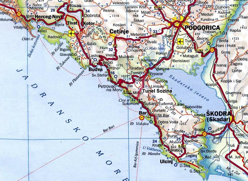 Mapa Crne Gore Becici Superjoden